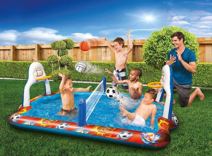 Kiddie Pool Water Sports Arena Activity Splash Pool Volleyball Net & Full Court Basketball Hoops Wading Water Fun!