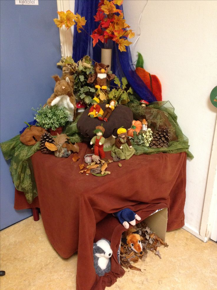 Thematafel kijktafel herfst. Groep 1/2.  Onder de grond. Bosdieren.