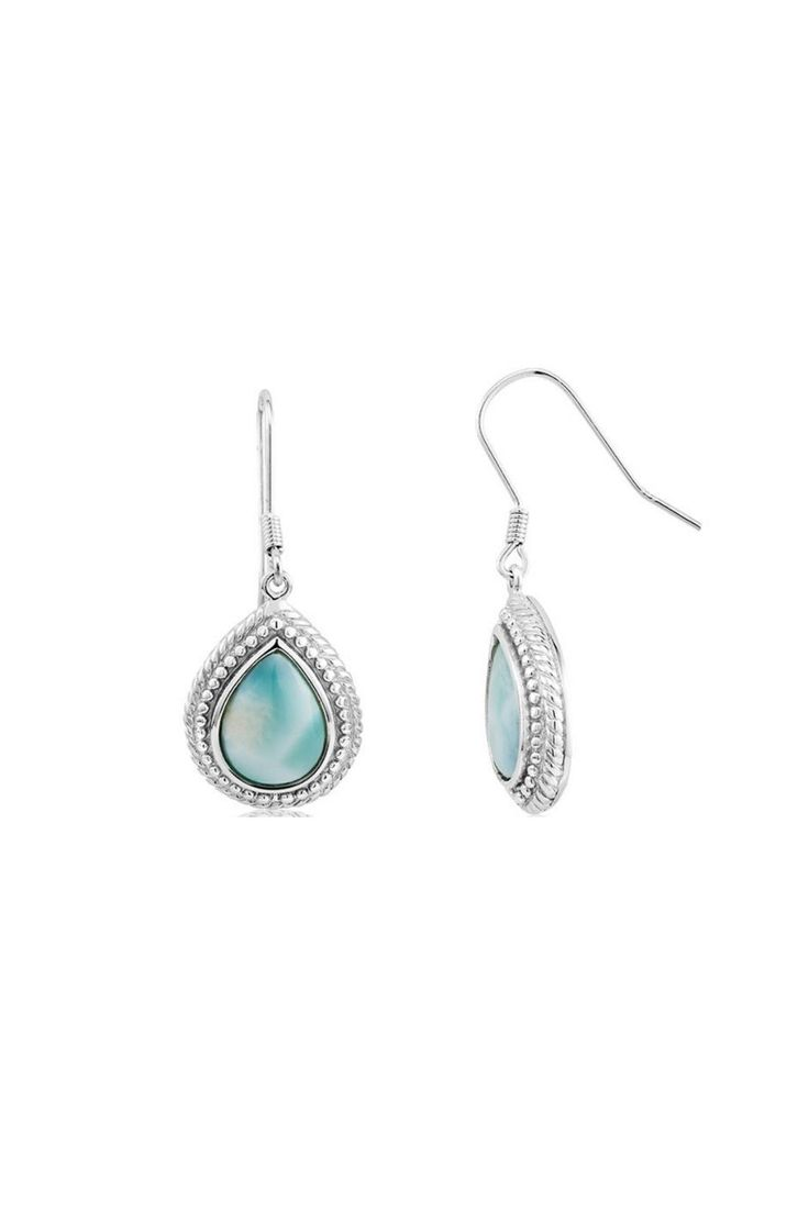 Larimar is a beautiful soft blue stone found only on the shores of the Dominican Republic. These sterling silver tear drop shaped earrings have approximately a 1.5 inch drop (top of fish hook down to bottom of tear drop) and are the definition of elegance.  Sterling Larimar Tear-Drop by Sterling. Accessories - Jewelry - Earrings Florida