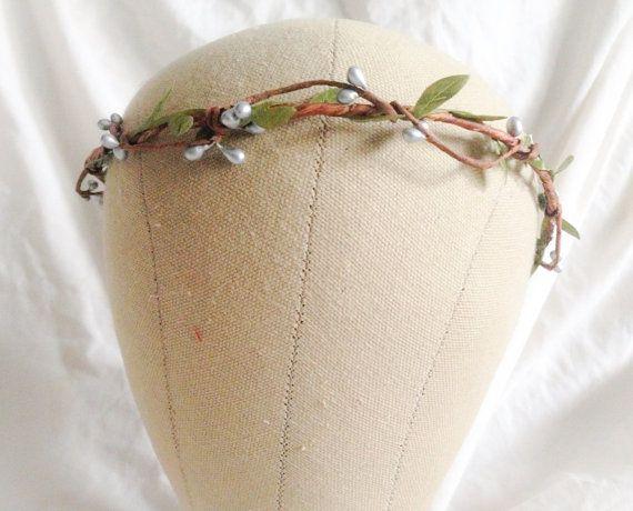 Woodland flower hair wreath silver pip berry by prettylittletitch, $20.00