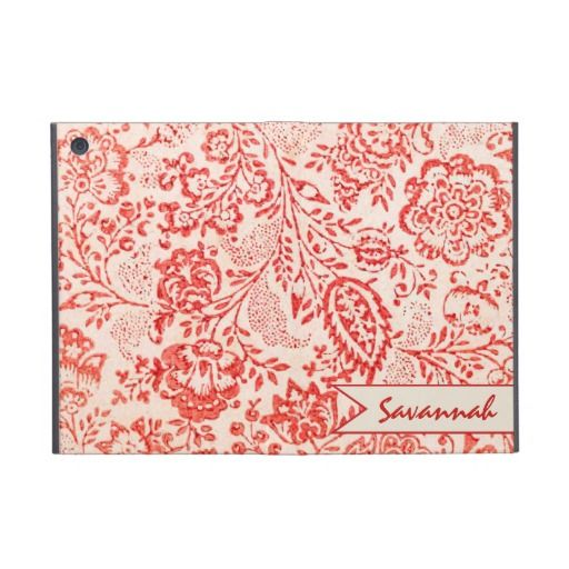 Personalized Vintage Red Floral iPad Mini Case For iPad Mini #zazzle #ipad #ipadmini #mini #ipadminicase