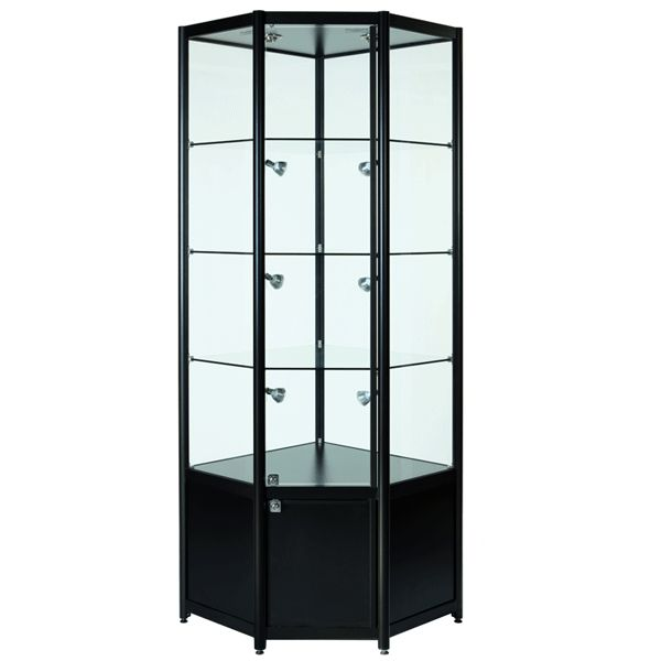 black glass corner cabinet with storage finished in a beautiful brushed aluminium supplied with