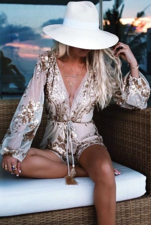 gold sequin playsuit. boho chic summer style.