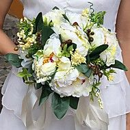 """Wedding+Flowers+Round+Peonies+Bouquets+Wedding+Party/+Evening+Satin+9.84""""(Approx.25cm)+–+USD+$+32.00"""