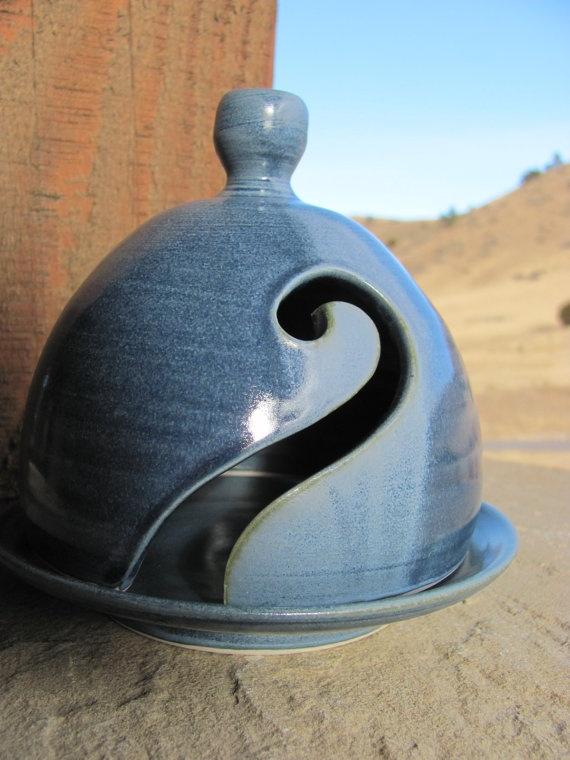 Ceramic Yarn Bell in Varigated Blue Handmade by ShadyGrovePottery, $35.00