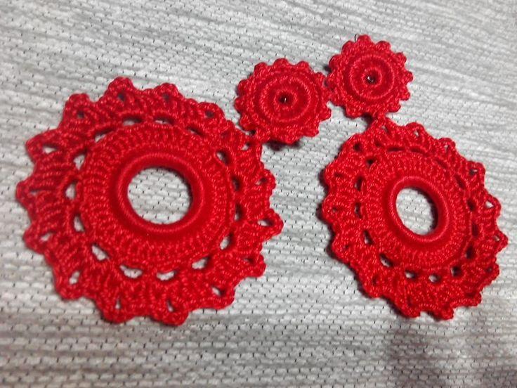 Pendientes Flamencos Crochet Rojo de Mi Universo Artesanal por DaWanda.com