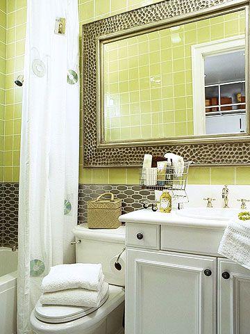 kiwi and white for a bathroom.: Bathroom Mirrors, Colors Bathroom, Bathroom Colors, Small Bathrooms, Bathroom Ideas, White Bathrooms, Bathroom Tile, Tiny Bathrooms, Guest Bathrooms