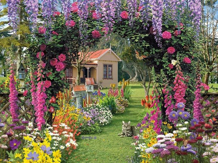 Lawn U0026 Garden : Pretty Garden Design With Purple Hanging Flower Plant And  Beautiful Colorful Plant Decoration Idea Beautiful Decorate Garden Ideas  For Your ...