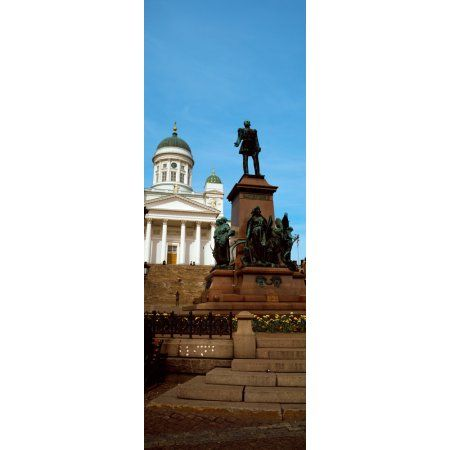 Statue of Alexander II in front of a cathedral Tsar Alexander II Statue Helsinki Lutheran Cathedral Helsinki Finland Canvas Art - Panoramic Images (27 x 9)