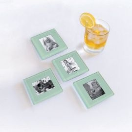 Glass Photo Coasters With Holder Magnamail