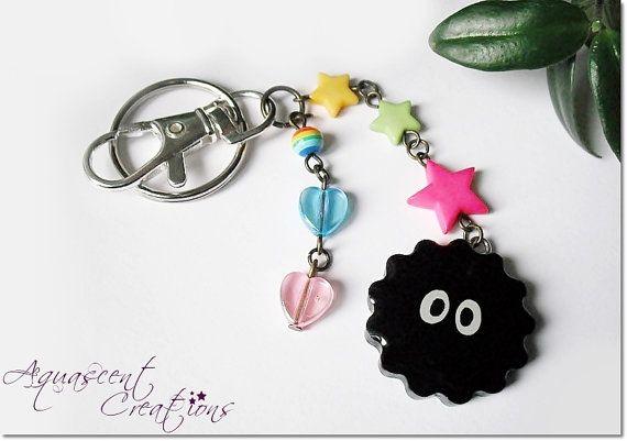 Kawaii Soot Sprite keychain, resin dangle charm keychain, Totoro keychain, Spirited Away inspired, Studio Ghibli anime, girl gamer geek gift
