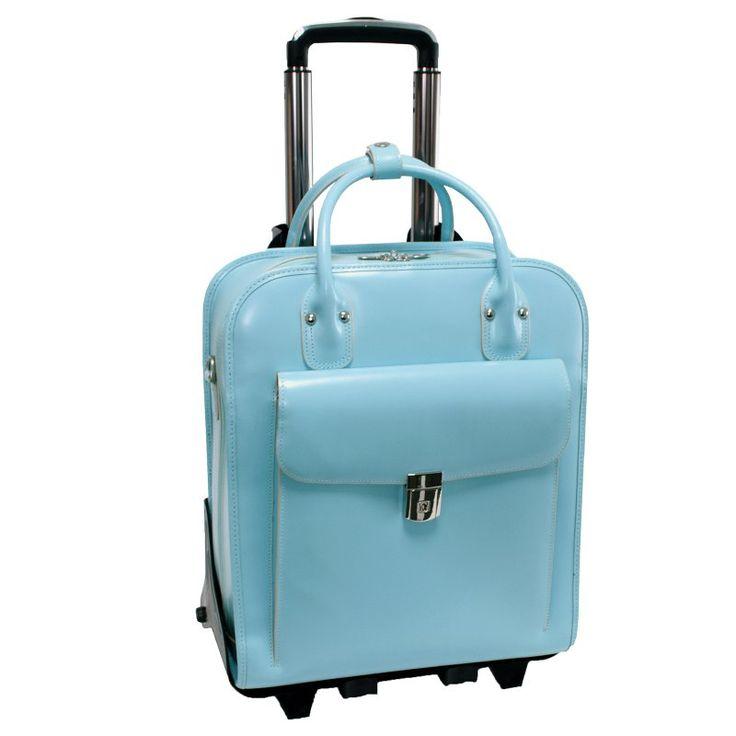 McKlein USA La Grange Leather Vertical Detachable Wheeled Ladies Briefcase Aqua Blue - 96498