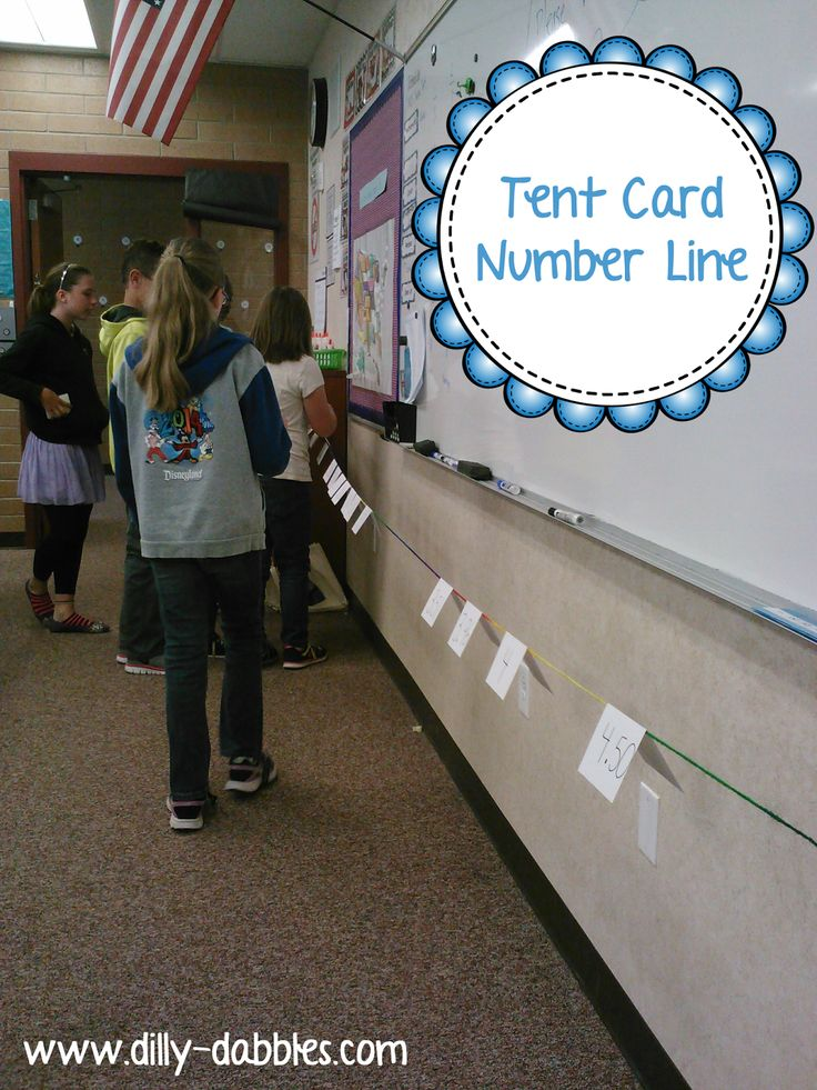 """A tent card number line - she uses this with decimals, but I can see it being used for whole numbers, too! Great for teaching number sense and """"distance"""" between numbers"""