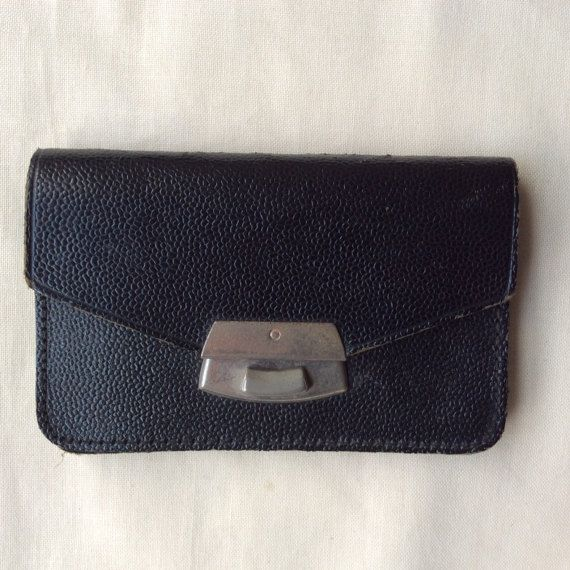 Vintage 1940s leather coin purse small black coin by coolclobber