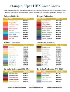 Stamping Inspiration: TOOL TIP TUESDAY, RGB & Hex Color Code Charts for Stampin' Up! Colors...