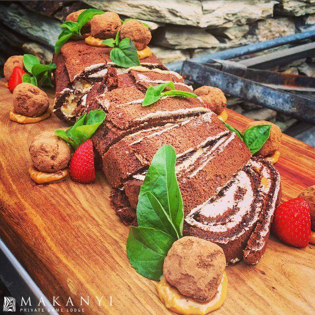 Chocolate Coffee Caramel Meringue Roulade & Truffles