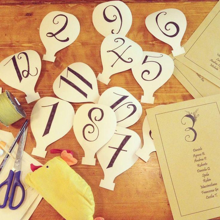 Segnatavolo-mongolfiera / #Wedding Table-tag. Inspiration: hot-air baloon.