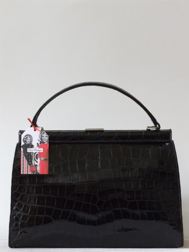 Vintage 50's patent zwarte krokodillenleren tas met grote schubben - Tassen & portemonnees - Vintage