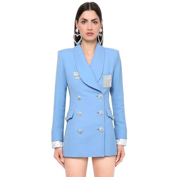 Alessandra Rich Women Double Breasted Double Wool Blazer 79 865 Czk Liked On Polyvore Featuring Outerwear Jackets Blue Blazer Jacket Blazer Clothes Design