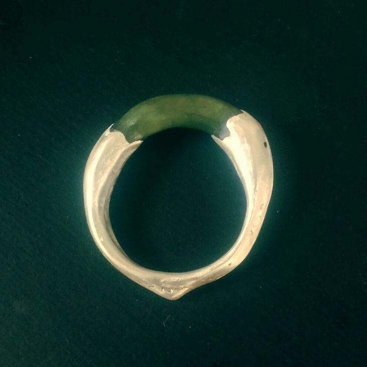 Sand cast ring. Silver and pounamu.