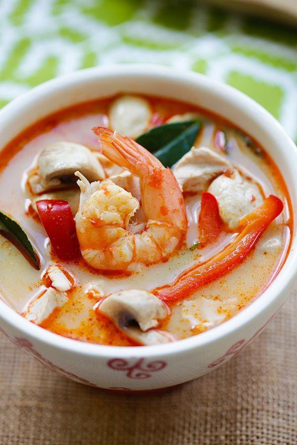 Thai Coconut Chicken & Shrimp Soup | Easy Delicious Recipes