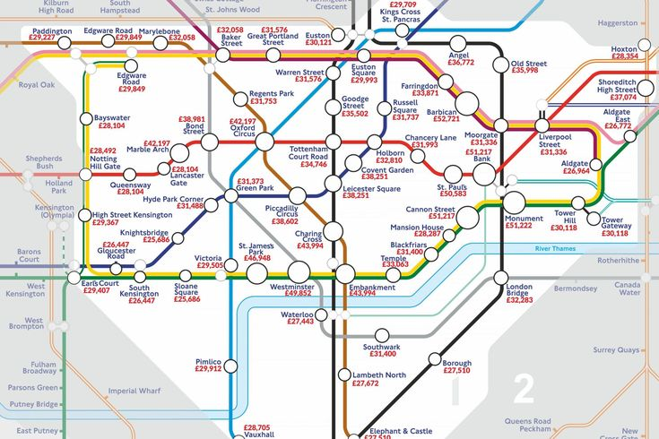 Tube map reveals how much workers earn near London's stations | London Evening Standard