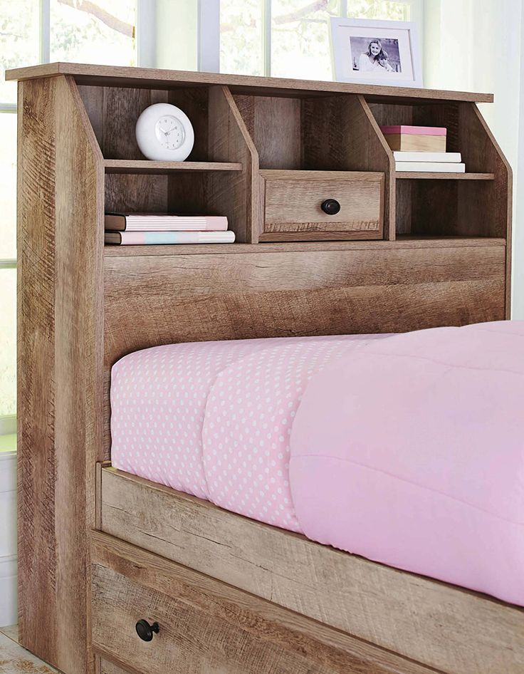 Weathered Finish Cubbyhole Storage Crossmill Twin Bookcase Headboard Features A Rustic Appearance And Simple Design Offers You Countryside Charm Adds