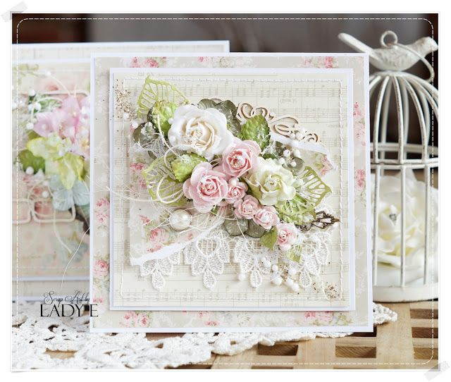 Scrap Art by Lady E, Shabby chic, flower greeting card