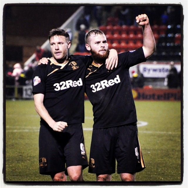 Alexander and Connolly celebrating the hard fought victory #gary #alexander #mark #connolly #3-2 #awaydays #crawley #leyton #orient #skybet #league #one #celebration #3