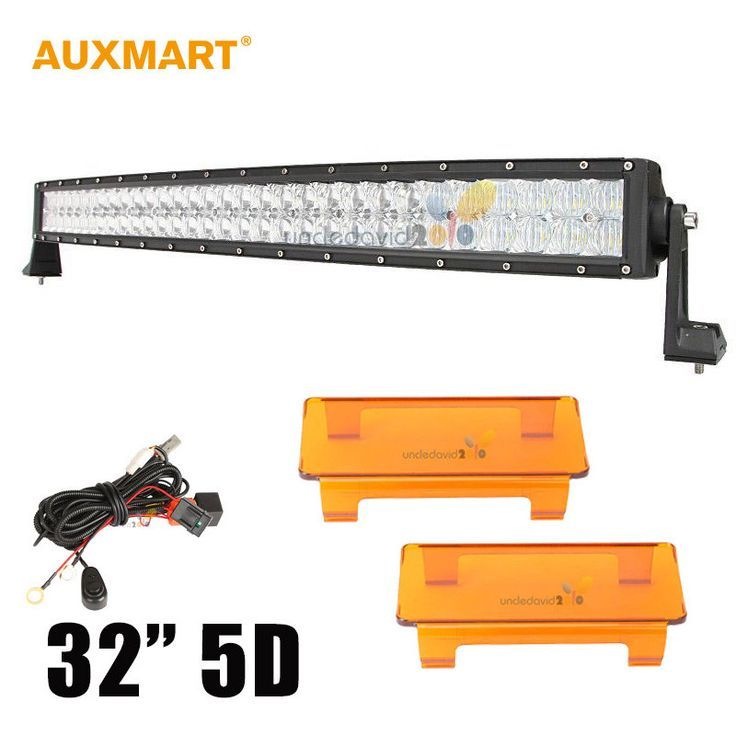 "5D 32"" 300W Spot Flood Combo Beam Curved LED Light Bar Offroad Amber Light Cover 12V 24V"