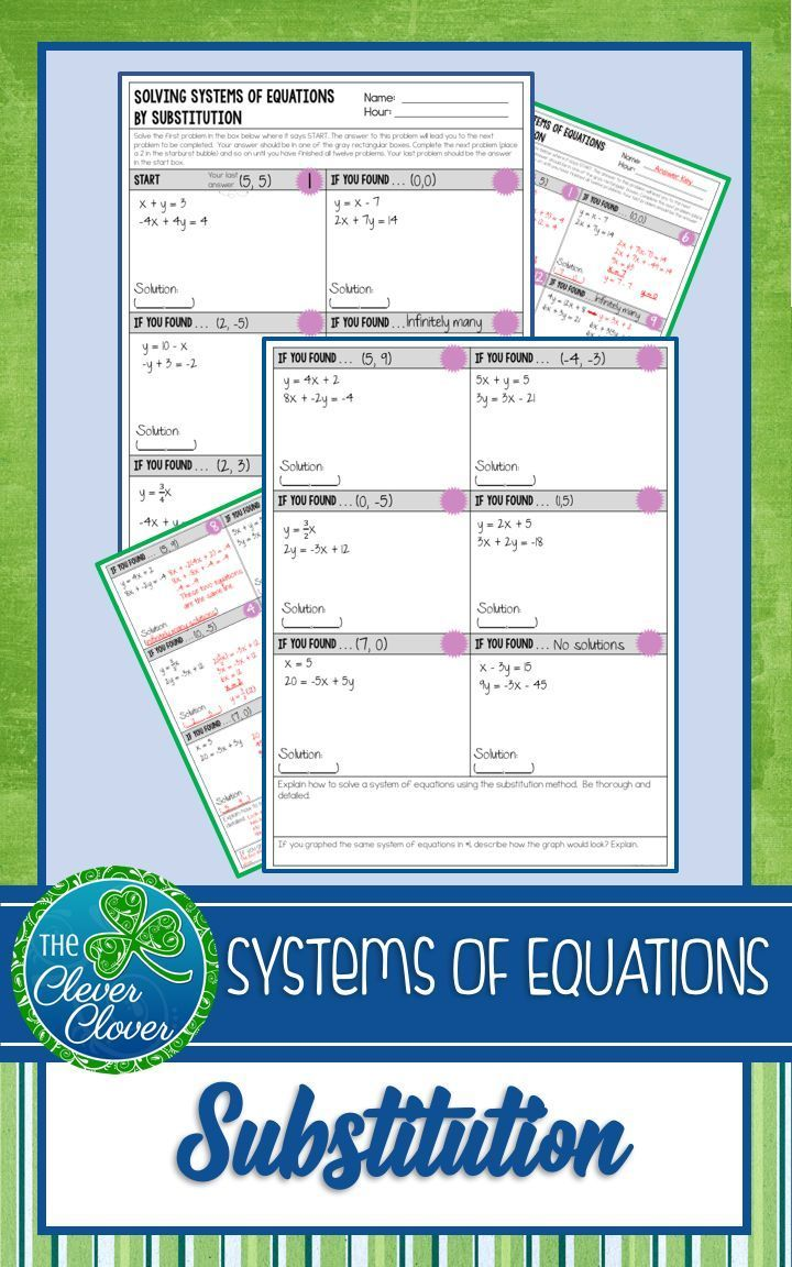 Use This Self Checking Substitution Method Scavenger Hunt To Deepen Student Understanding With Systems Of Equa Systems Of Equations Equations Teaching Algebra