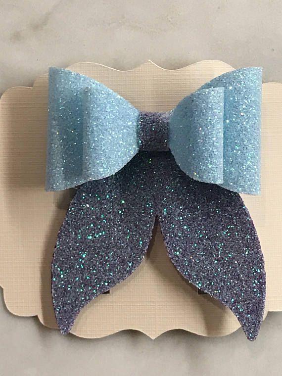 Glitter Canvas Mermaid Tail Hair Bow | Moños y Diademas ...