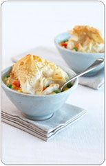 Creamy chicken and corn pot pies