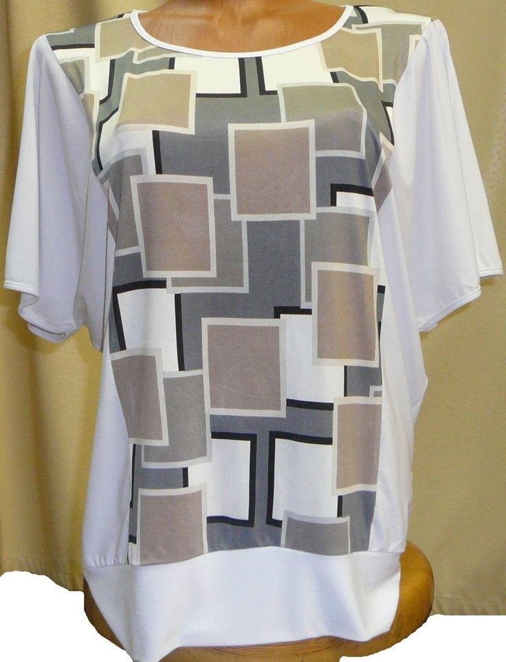 Свободная летняя женская блуза с квадратиками. Размеры: 46, 48, 50, 52.
