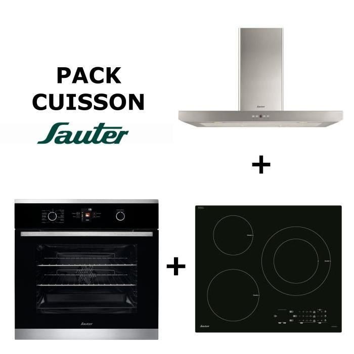 Pack cuisson : Four multifonction pyrolyse inox + Table de cuisson à induction 3 zones + Hotte box inox