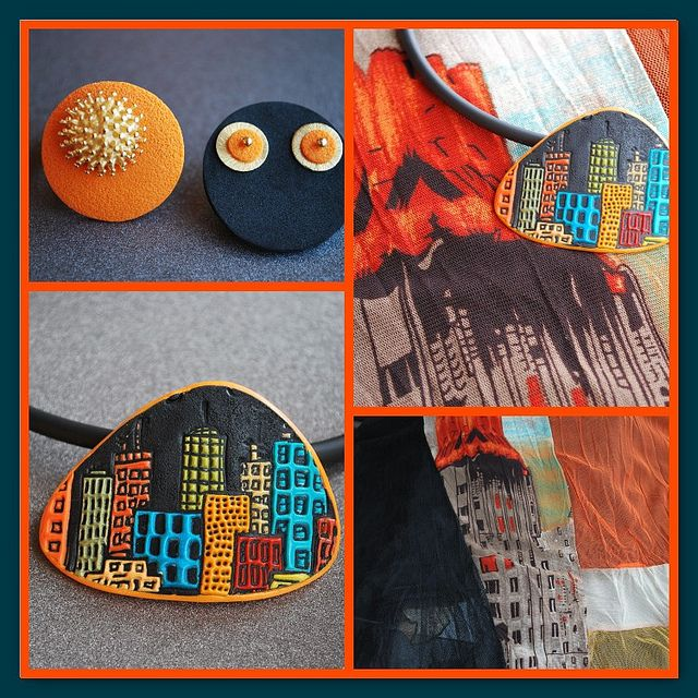 skyline by schmuckkunst, via FlickrPolymer Inspiration, Polimer Clay, Polymerclay, Skyline, Clay Polymer, Clay Inspiration, Arcilla, Polymer Clay, Crafts Polymer
