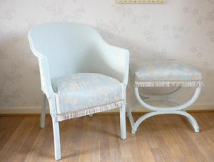 VINTAGE Lloyd Loom Chair & Stool Laura Ashley Duck Egg Blue Shabby Chic Bedroom   eBay