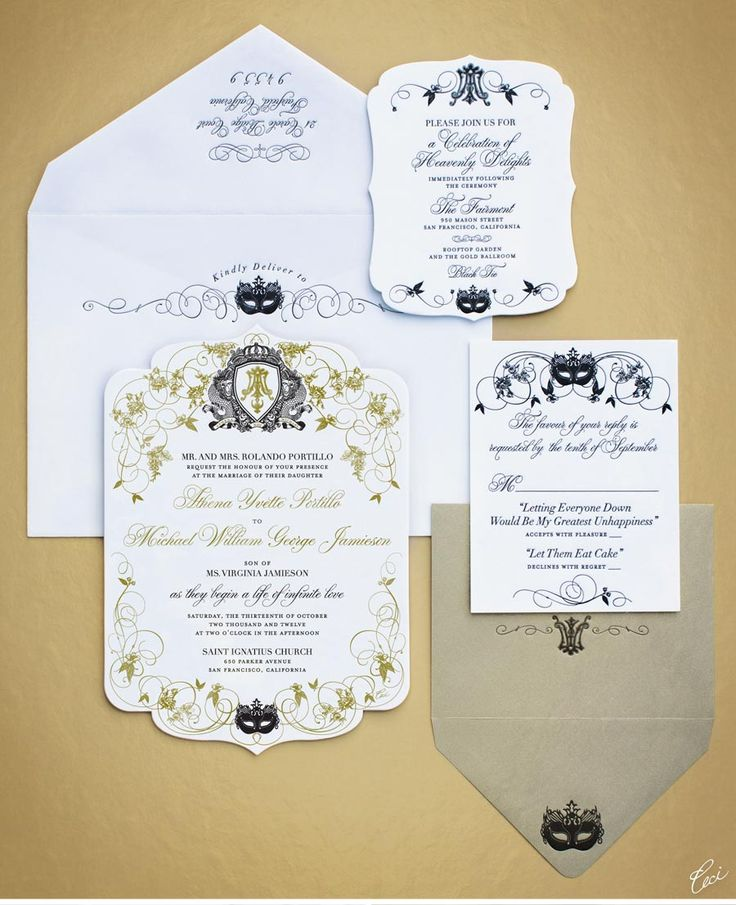 Ceci does it again! Luxury Wedding Invitations by Ceci New York - Our Muse - Masquerade Wedding - Be inspired by Athena & Michael's masquerade wedding - wedding, invitations, foil printing, letterpress printing, die cutting, offset printing