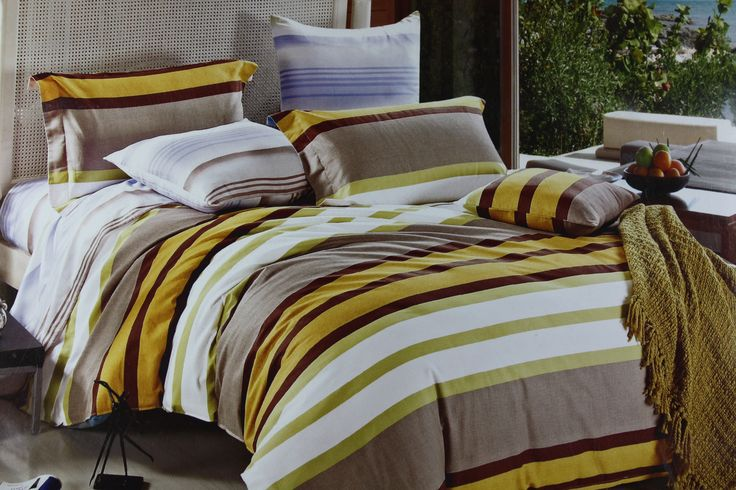 Giving your room a charming and sultry appearance is now easier than ever. Truely inspired by rich combination of yellow, mustard, dark purple and white stripes, this King Size(275*275cm) Bed Linen set will add just the right amount of pattern to your bedroom. Not only that, it blends perfectly well with all color interior types and adds uniqueness to your ordinary room.