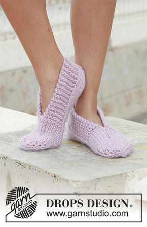 DROPS gebreide slippers van Eskimo. Gratis patronen van DROPS Design.