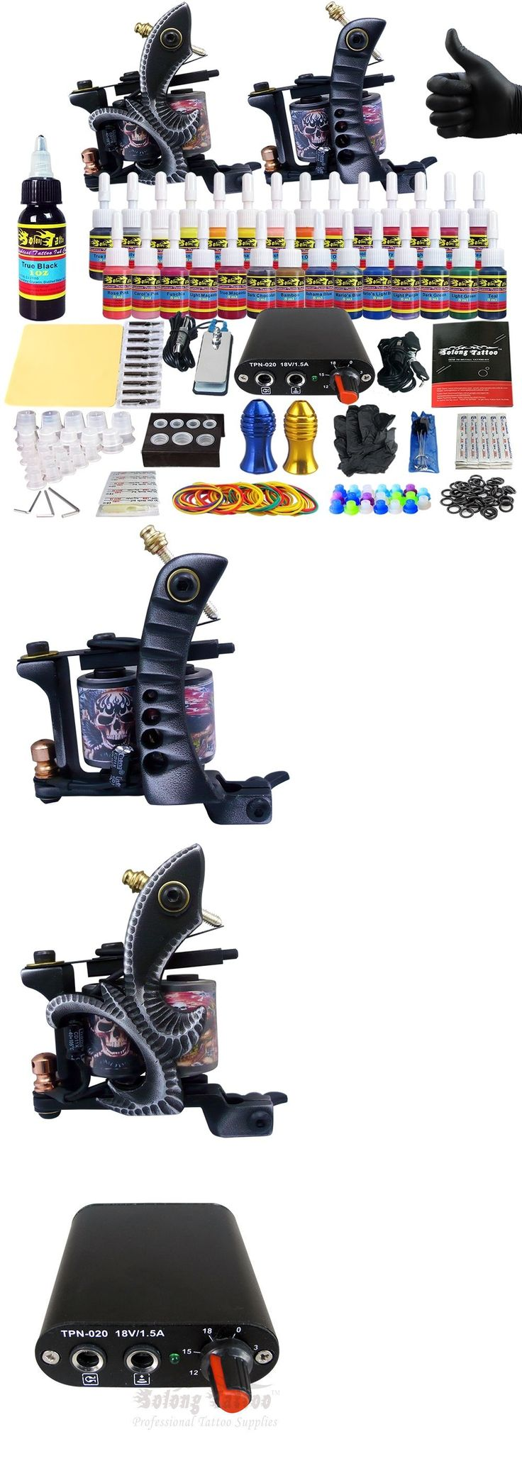 Tattoo Complete Kits: Complete Tattoo Machine Kit - 2 Profi Gun Set With 28 Ink Power Supply Tk204-25 -> BUY IT NOW ONLY: $38.9 on eBay!