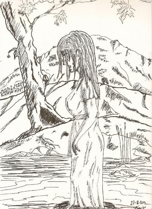 Woman in a river, inked