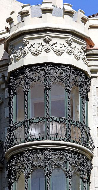 Barcelona imposing Modernista  window at Bruc Street