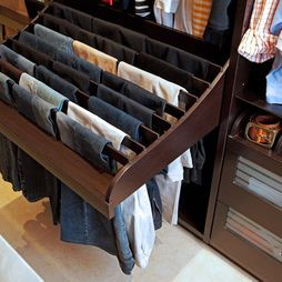 Great space saving idea for hanging pants in a closet. I wonder if I could make something like this....or how much my contractor would charge me...
