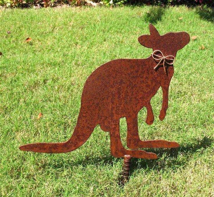 Kangaroo   Rusty Rustic Metal Yard Art, Metal Garden Art Stake By Richard  Walker