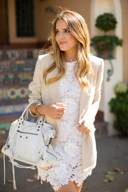 Boyfriend Blazer & Lace - I prefer a lace top and jeans instead of a lacy dress, but I like the idea . . .