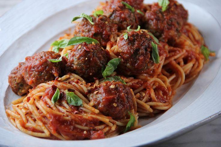 Spaghetti and Turkey Meatballs Recipe courtesy of Tia Mowry and
