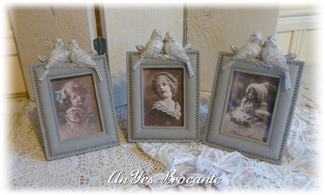 Brocante fotolijstjes met vintage afbeelding ♥ http://www.anyes-brocante.nl/