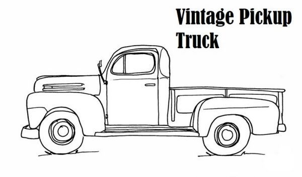 Vintage Pick Up Truck Coloring Page In 2020 Truck Coloring Pages