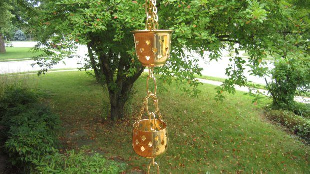 DIY Rain Chain: Turn your roof rainwater runoff into an attractive, seasonal fountain.